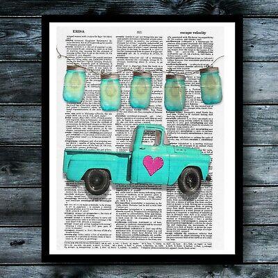 Mason Jar Art (Farmhouse Vintage Dictionary Art Print Truck Mason Jar Heart Cute Wall Decor)