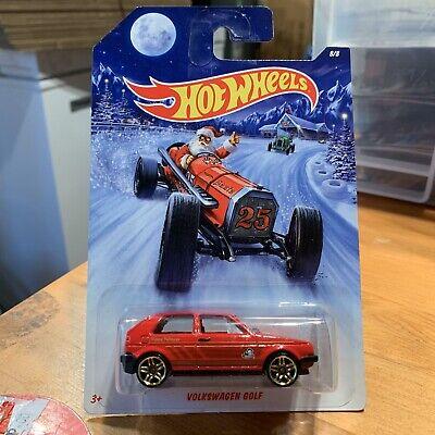 Hot Wheels Volkswagen Red Golf GTI Walmart Happy Holidays VW Hot Rods PR5 Rims