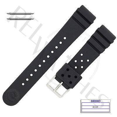 Seiko Black Strap (Genuine SEIKO 4F24ZZ 22mm Black Rubber Band + Pins | SKX Pro Diver Watch Strap )