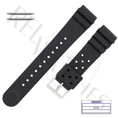 Genuine Seiko 4F24zz 22Mm Black Rubber Band   Pins   Skx Pro Diver Watch Strap
