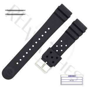 Genuine SEIKO 4F24ZZ 22mm Black Rubber Band + Pins | SKX Pro Diver Watch Strap