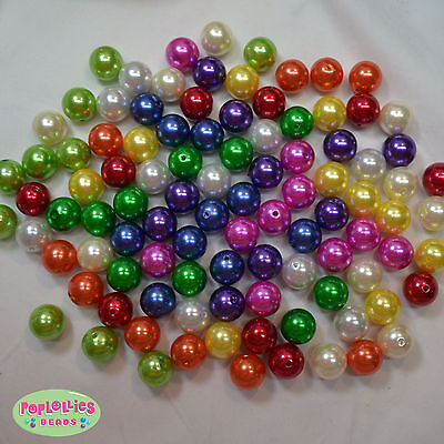Faux Pearl Beads Bulk (20mm Mixed Color Acrylic Faux Pearl Beads Chunky Jewelry Necklace Bulk 100)