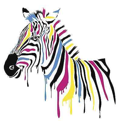 Coloured print of zebra.