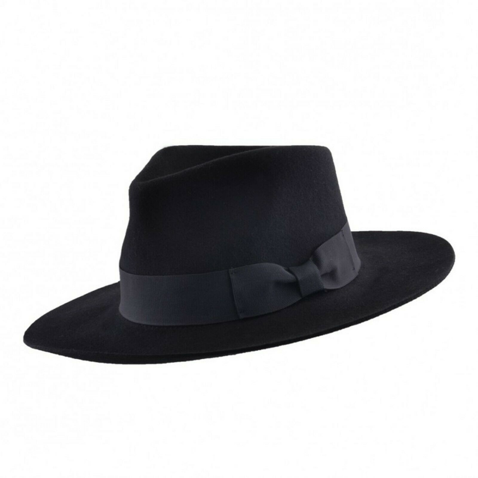 dfca320b1bf46 Gents 100% Wool Black Stiff and Snap Brim Felt Fedora Trilby Hat With Wide  Band