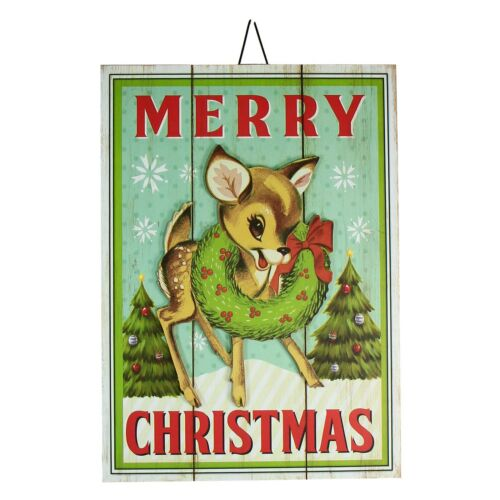 Merry Christmas Deer In/Outdoor Retro Vtg Wall Sign Yard Garden Stake Decor