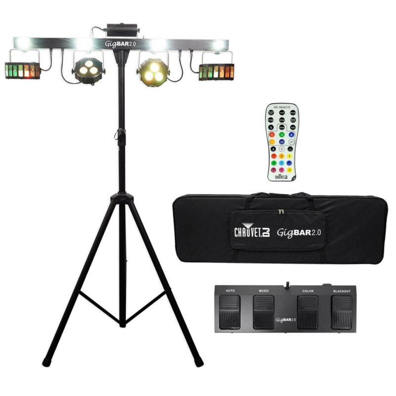 Chauvet DJ 4-in-1 LED GigBAR 2.0 Light FX System w/ Tripod+Remote+Footswitch+Bag