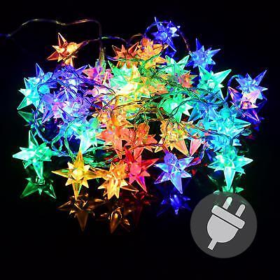 40er LED Lichterkette Stern  Außen Weihnachten bunt Sternenlichterkette XMAS