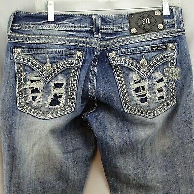 MISS ME JE5380B5R Distressed Flap Pocket Jeweled Bootcut Jeans Size 32 X 27.5 Miss Me Flap Pocket Stretch Jean
