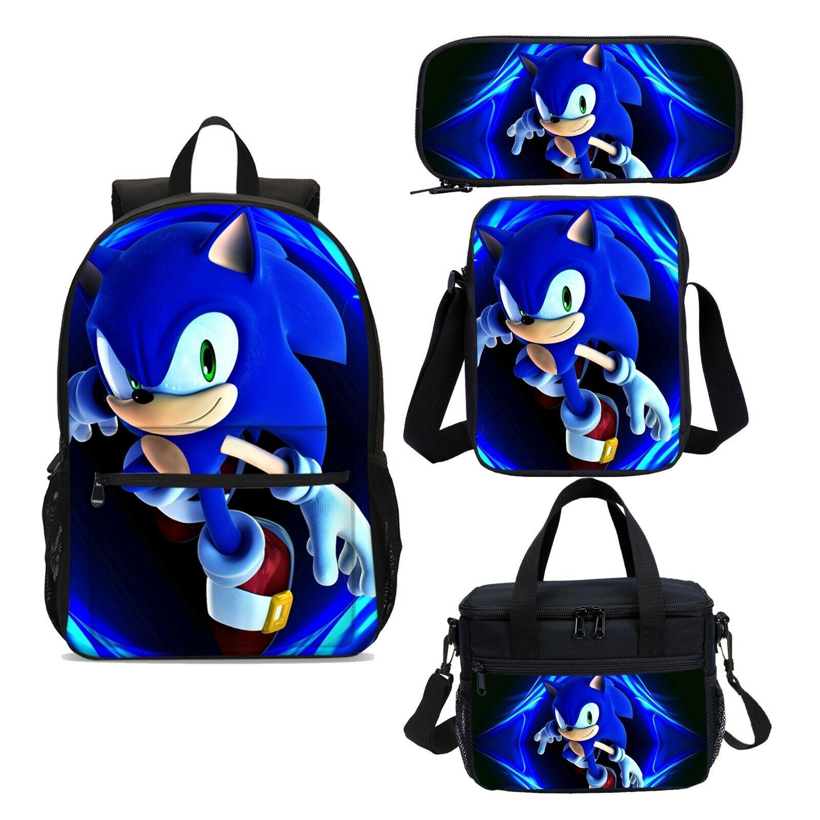 Sonic the Hedgehog Boys Backpack School Bag Crossbody Shoulder Bag Pen Case Lot