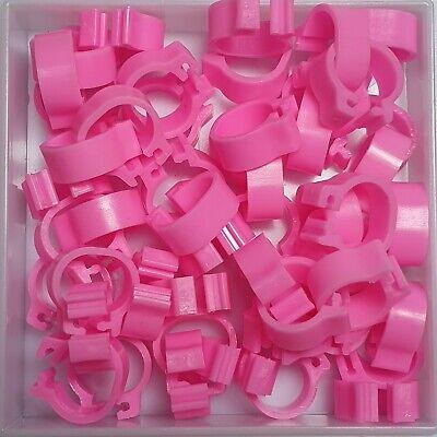 25 x PINK 8mm PLASTIC PIGEON LEG CLIP CLICK RINGS