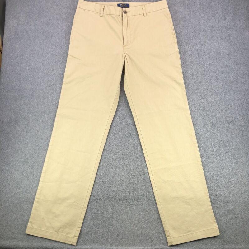Polo Ralph Lauren Youth Classic Khaki Chino Pants Sz 18 Uniform Meas 32.5 x 29.5