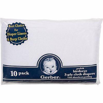 New Gerber Prefold Birdseye Cloth Diapers 10 Pack White