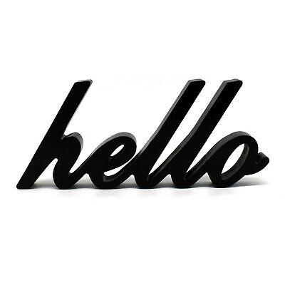 Wooden Hello Sign (Matt Black Wooden Words Sign