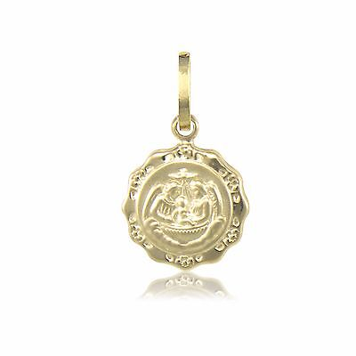 14K Solid Yellow Gold Baptism Medal Pendant -Round Necklace Charm Baby Men - Gold Baptism Medal