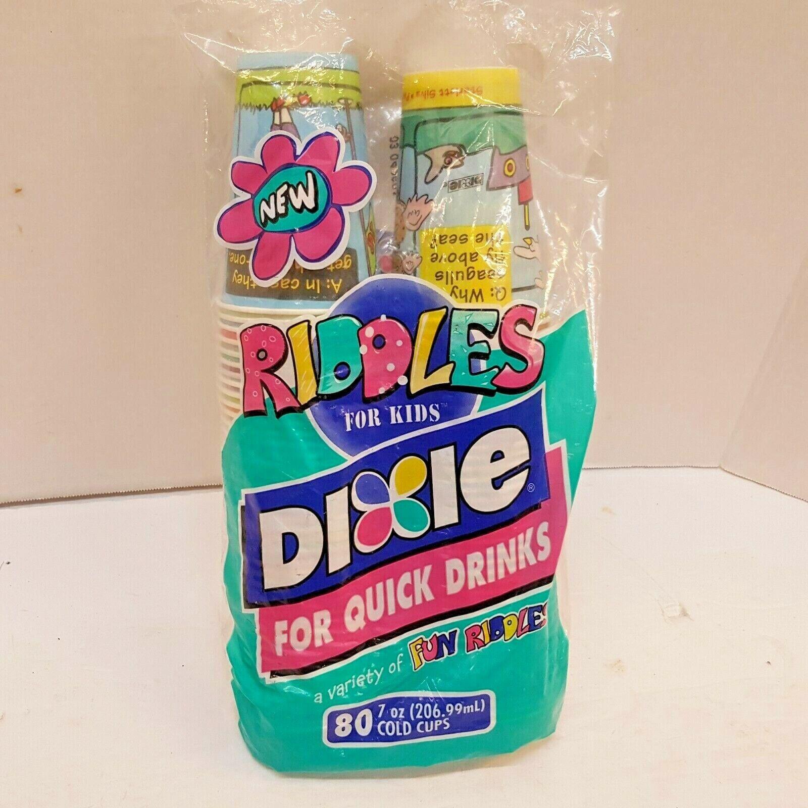 New NOS Vintage Dixie Cold Cups Riddles for Kids 80 7oz Glas