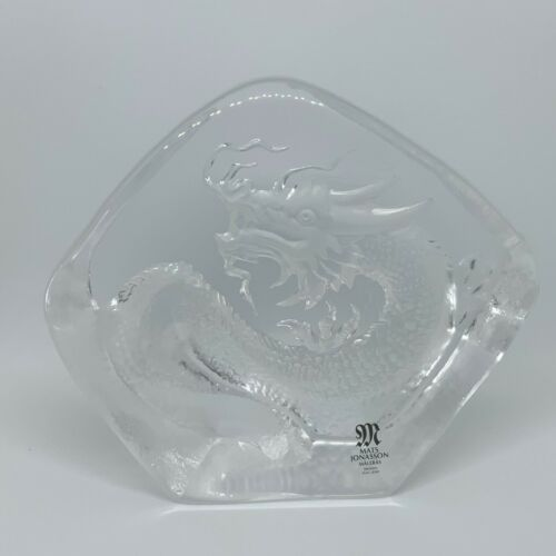 Dragon By MATS JONASSON Sweden Etched Crystal Sculpture - 4.5 Inches Wide *E1C3