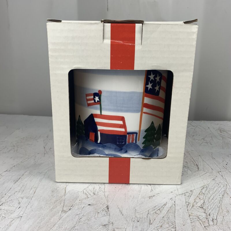 United States Flag Cookie Jar Americana Patriotic Banner 4th of July Red
