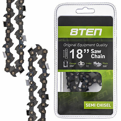 8TEN Chainsaw Chain 18 Inch Bar .050 Gauge .325 Pitch 72 Dri