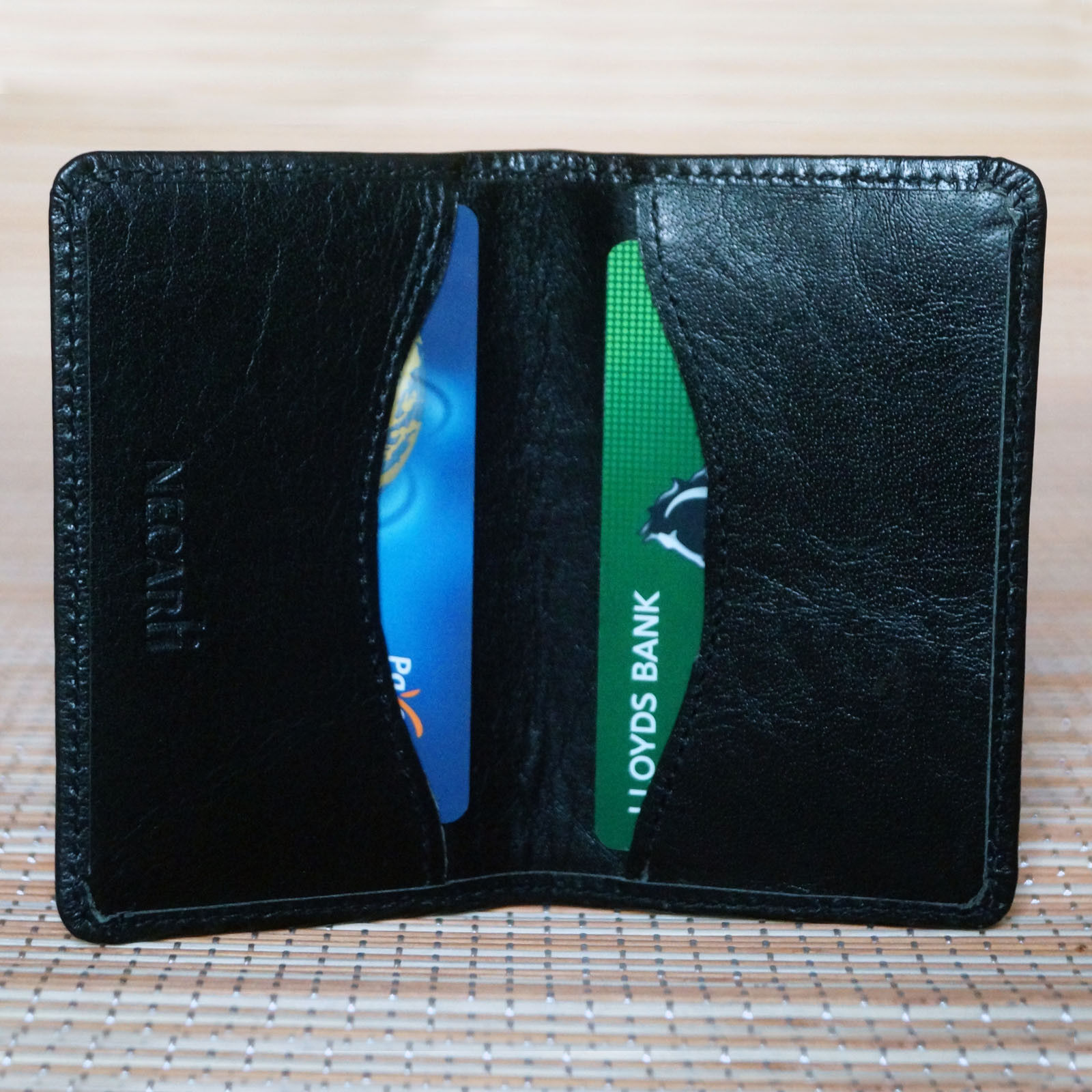 Real Leather Small Bifold Id Credit Card Holder Slim Pocket