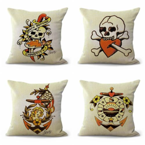 US SELLER- set of 4 throw pillows couch Sailor Jerry tattoo
