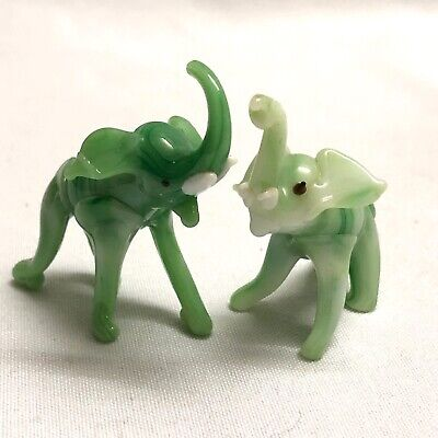 "Green Glass Elephant Set Hand Blown 1.5"" - 2"" Vintage"