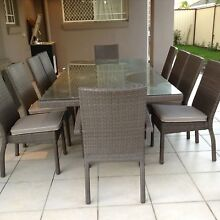 10 seater large outdoor Wicker table with glass top Calamvale Brisbane South West Preview