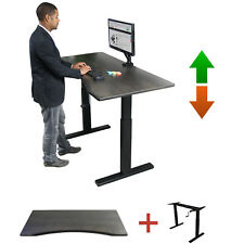 Boost Enviro-DESK Rustic Charcoal Desk + Manual Crank Adjustable Sit/Stand Frame
