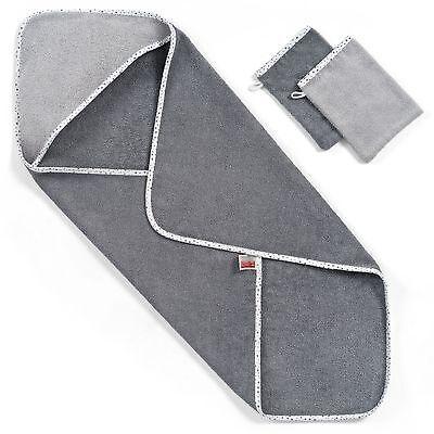 Wörner Kapuzenbadetuch 80 x 80 cm | Sparset inkl. 2 Waschlappen - Sterne Grau