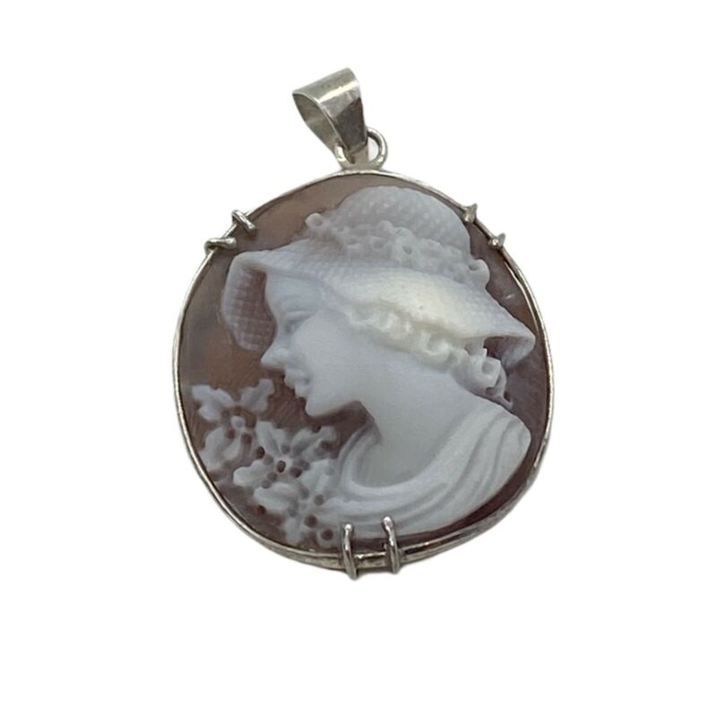 """Estate beautiful Vintage Sterling Silver Cameo Pendant 1.25"""" girl with hat"""