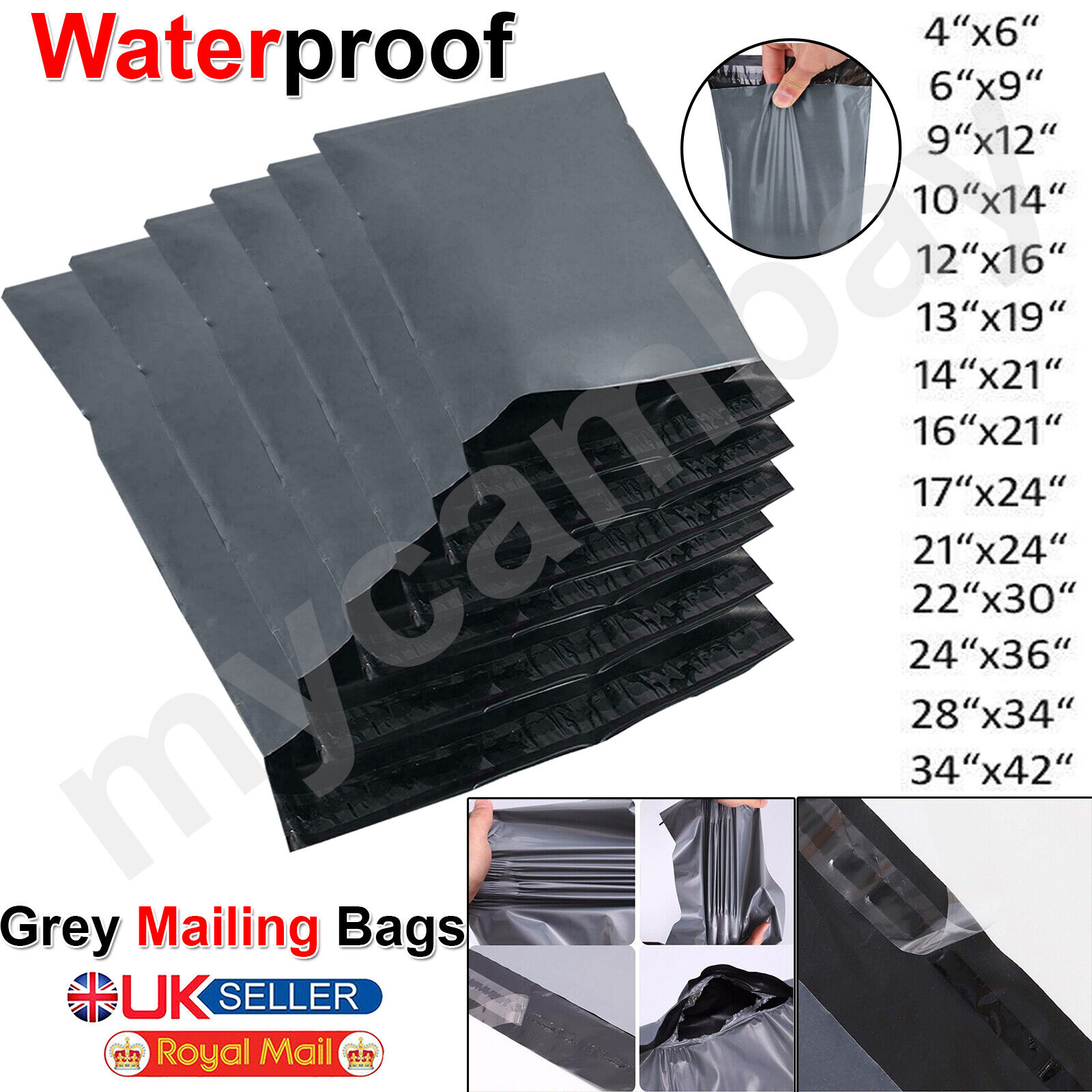 """10 Grey 10/"""" x 14/"""" Mailing Postage Postal Mail Bags"""