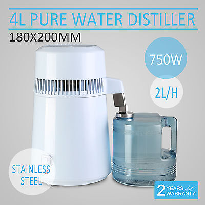 4L Stainless Steel Filter Pure Water Distiller Purifier Dental  Home Travel