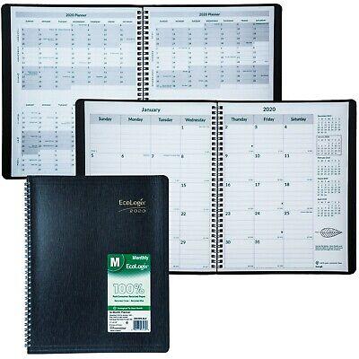 "2020 Brownline EcoLogix CB435W.BLK Monthly Planner, 8-1/2 x 11"""
