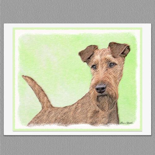 6 Irish Terrier Dog Blank Art Note Greeting Cards