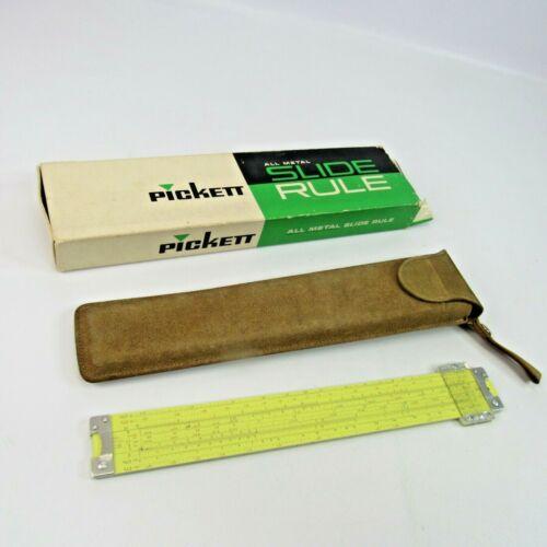Vintage Pickett Model 500 ES Hi-Log Speed All Metal Slide Rule with Leather Case
