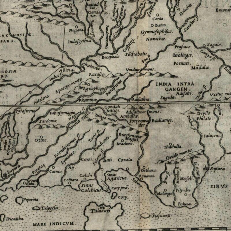 India inside Ganges Tabula Asia X 1599 Ruscelli Rosaccio antique map Ptolemaic