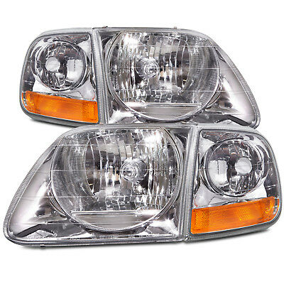 Ford F150 Expedition Lightning Style Headlights New 4Pc Set w/ Corner Light Pair