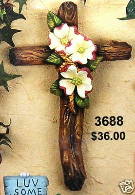 Ceramic Bisque Dogwood Cross CPI Mold 3688 U-Paint Ready To Paint