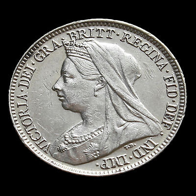 1895 Queen Victoria Veiled Head Silver Sixpence – Scarce