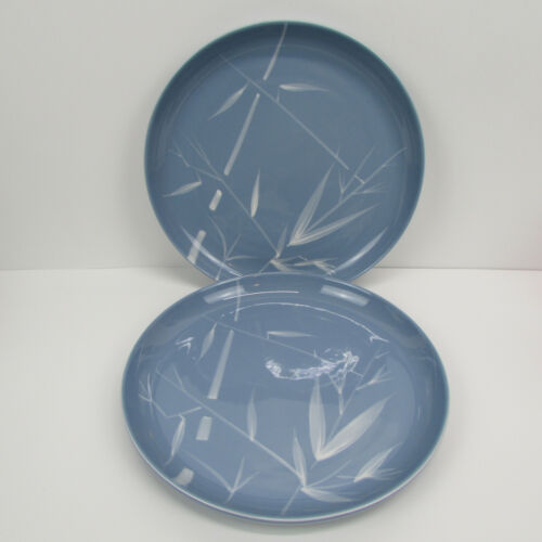 Set of 2 Winfield Blue Pacific Bamboo CALIFORNIA POTTERY Dinner Plates