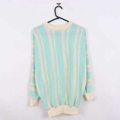 Vintage 80s Striped Jumper Cream & Blue Sweater Womens Size M/L Retro