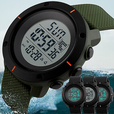 Kids Boys LED Sports Digital Watch Outdoor Waterproof Alarm Count-down Stopwatch