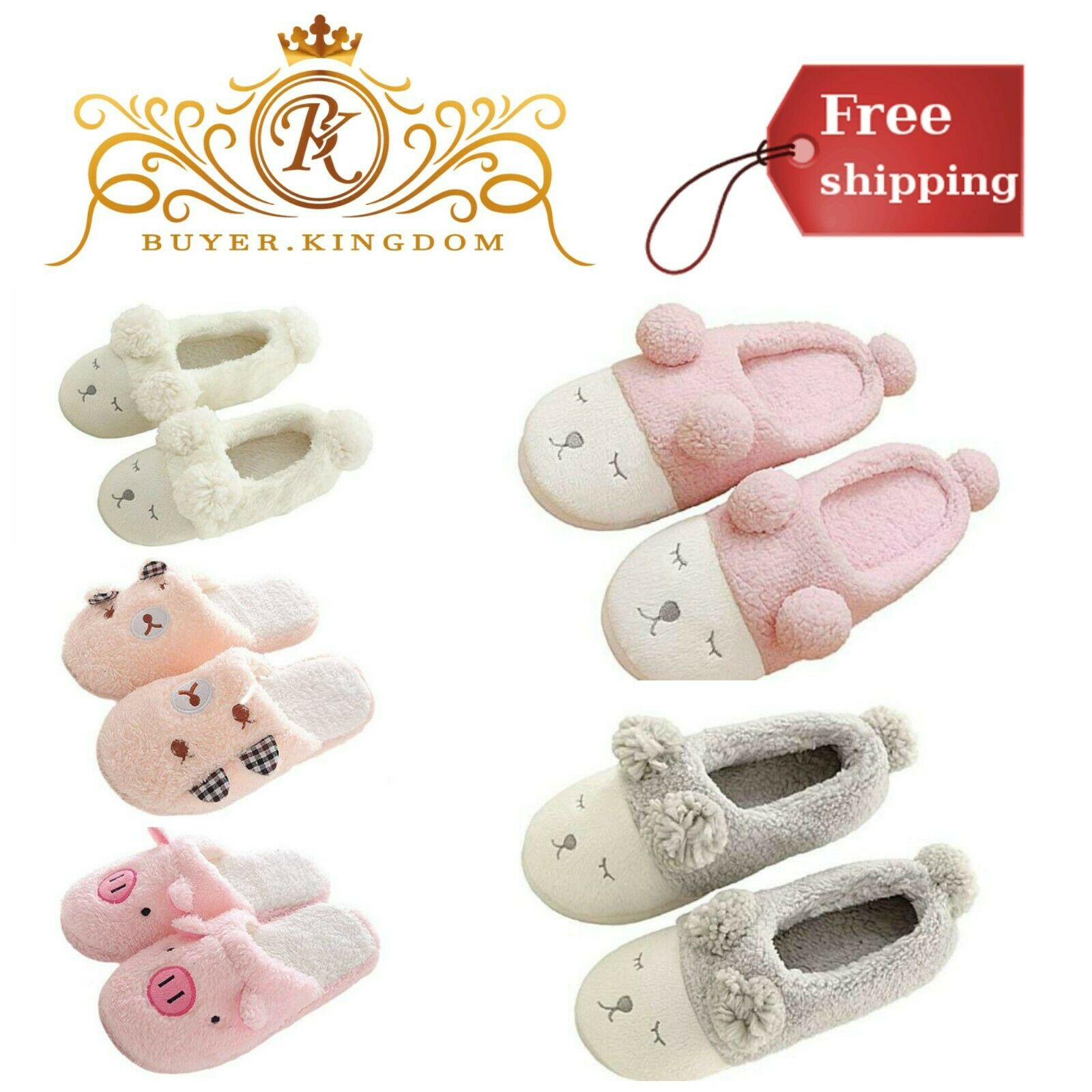 Winter Warm Slippers House Home Cute Slippers Women Men Indoor Shoes