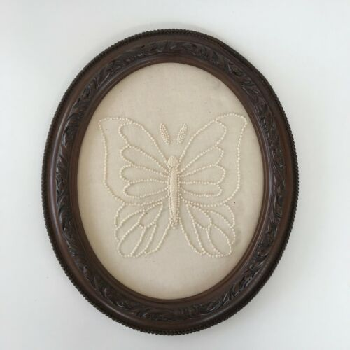 Vintage Wood Framed Butterfly Candlewick Embroidery Picture Finished White