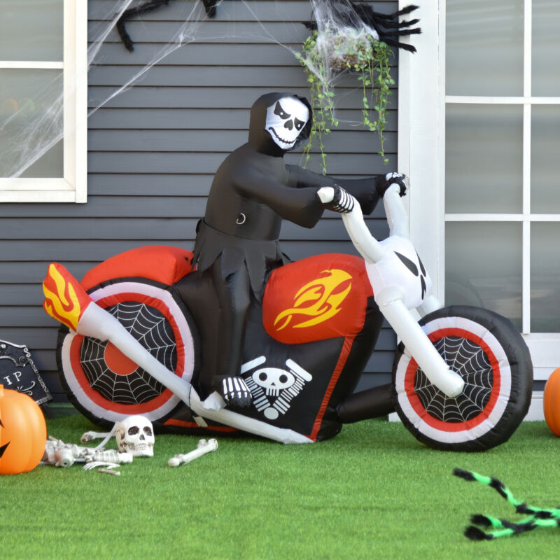 7.5ft Halloween Airblown Inflatable Reaper Motorcycle Outdoor Yard Decorations
