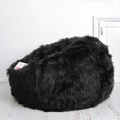 FUR BEANBAG Cover Top of the Range Black Super Deluxe Chair Lush Soft Bean (Deluxe Bean Bag Chair)