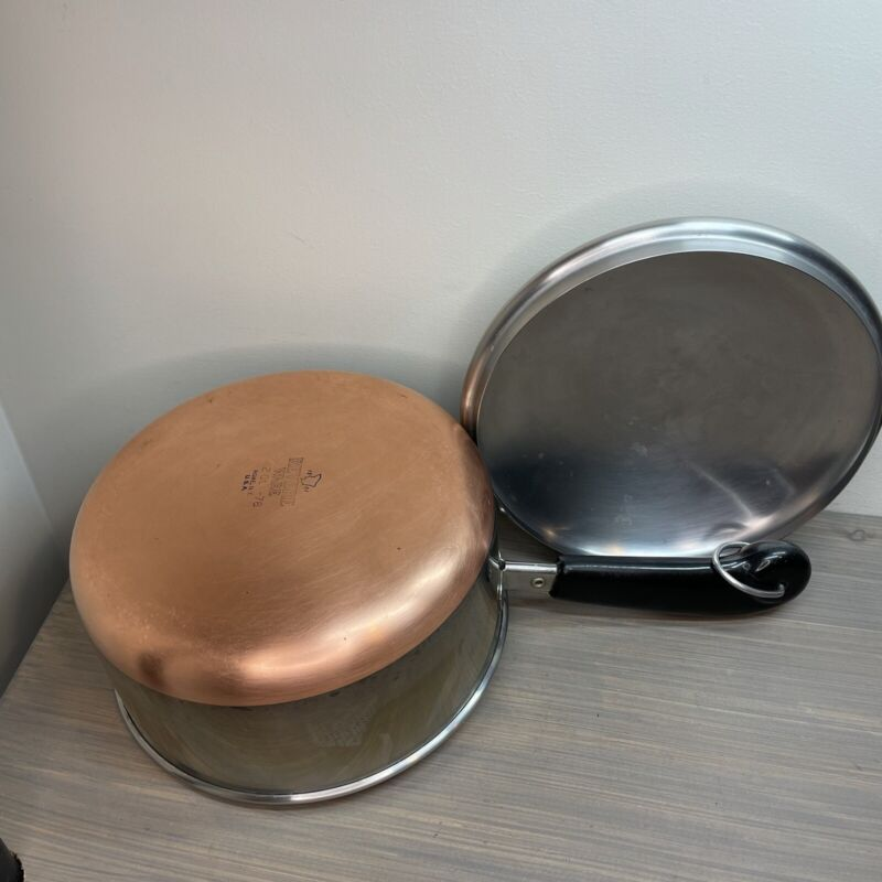 Revere Ware 2 Qt Quart Copper Bottom Sauce Pan with Lid Pot Stainless Rome NY 78