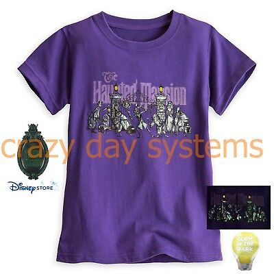 Disney Store Tee Shirt The Haunted Mansion Hitchhiking Ghosts Halloween 6,  7/8  - Haunted Halloween Store