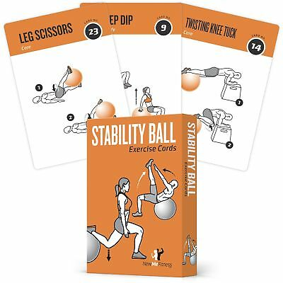 Exercise Cards Stability, Balance Ball - Includes 6, Total Body At Home Worko...