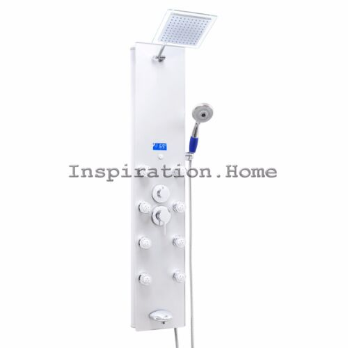 """New 52"""" Tempered Glass Massage Jet Shower Panel Tower System Temperature Display"""