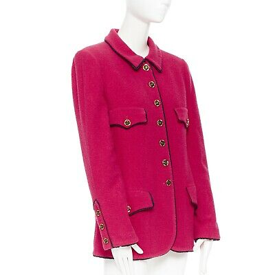 CHANEL vintage hot pink wool boucle black trim 4-pocket gold button-up jacket